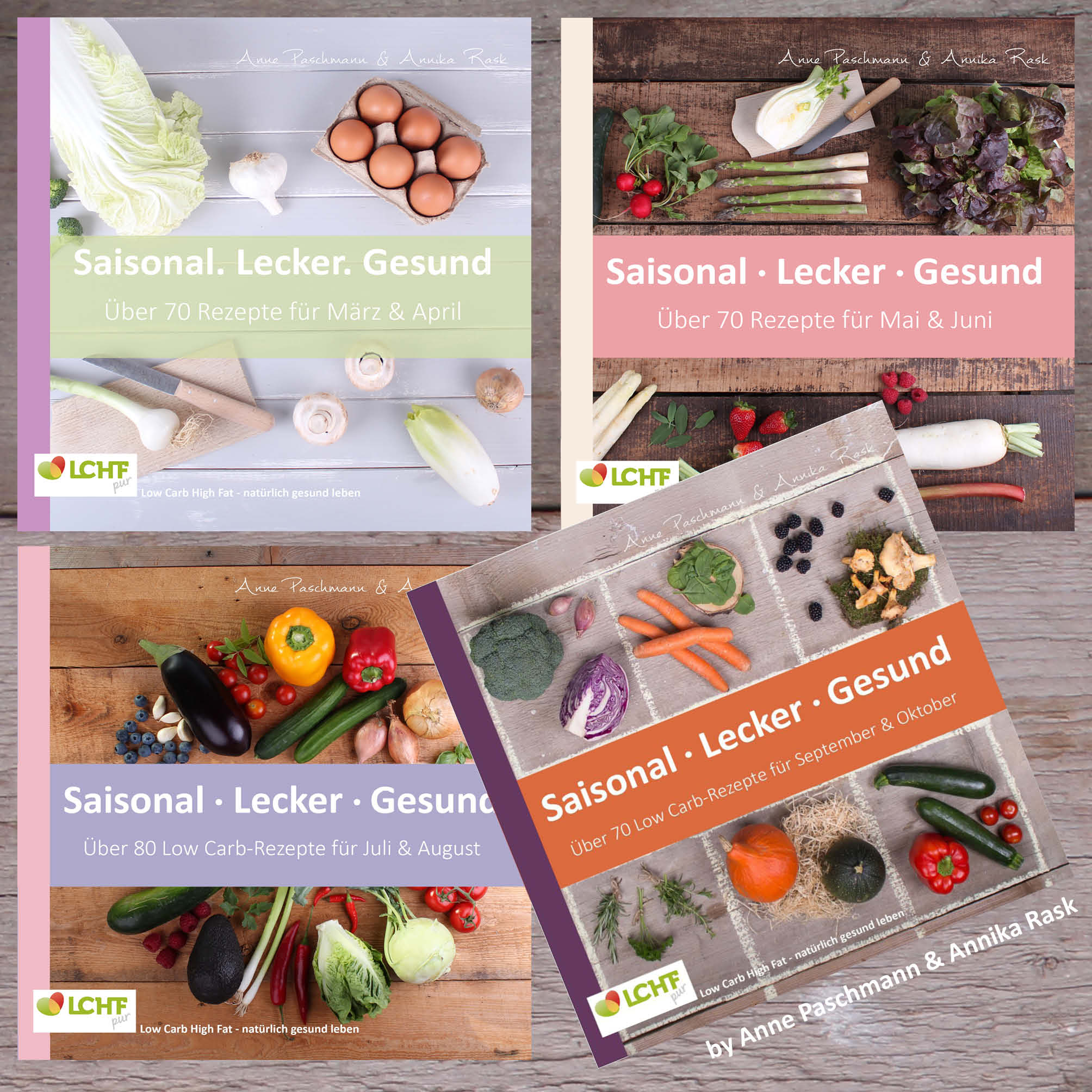 4 Cover der Kochbuchserie Saisonal. Lecker. Gesund