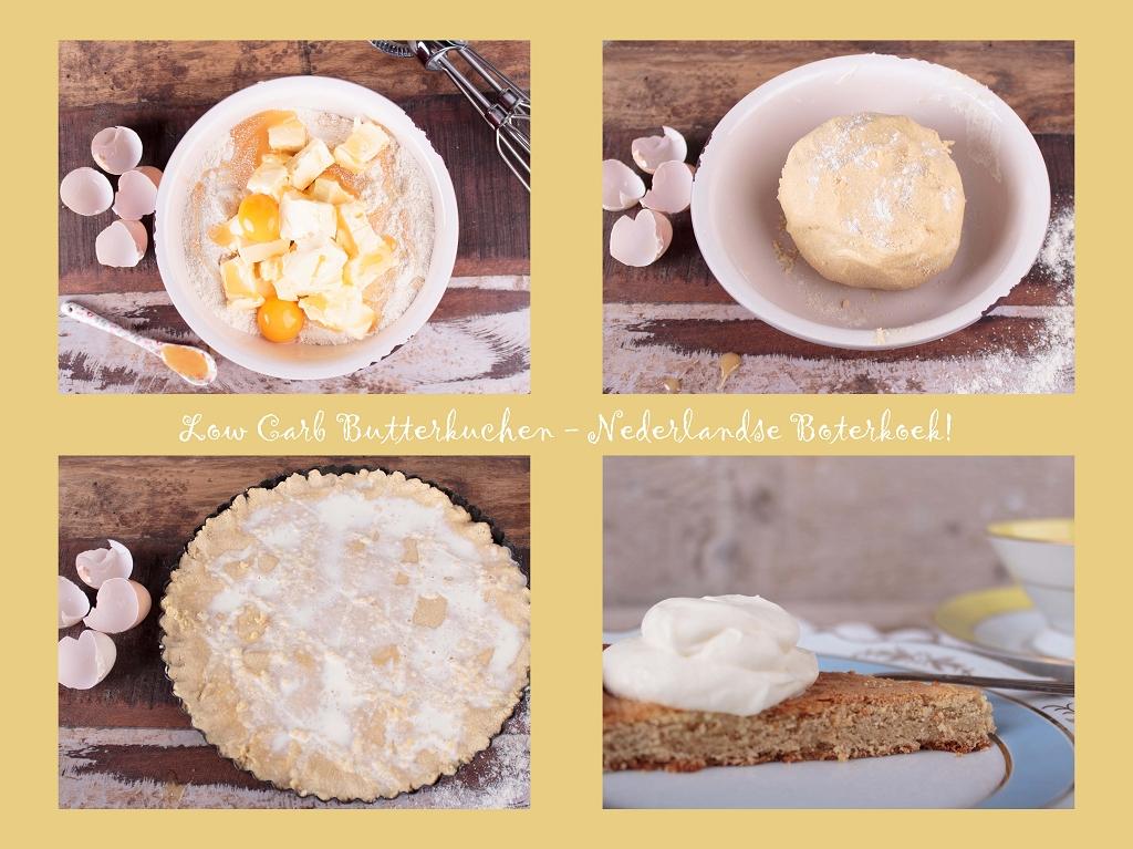 Fotocollage zur Herstellung eines LCHF Kuchen - hollaendischer Butterkuchen