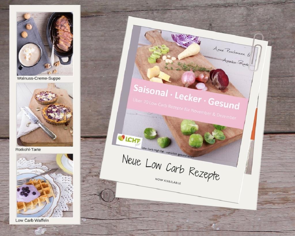 Coverbild vom Kochbuch LCHF pur: Saison. Lecker. Gesund - über 70 Low Carb Rezepte für November & Dezember