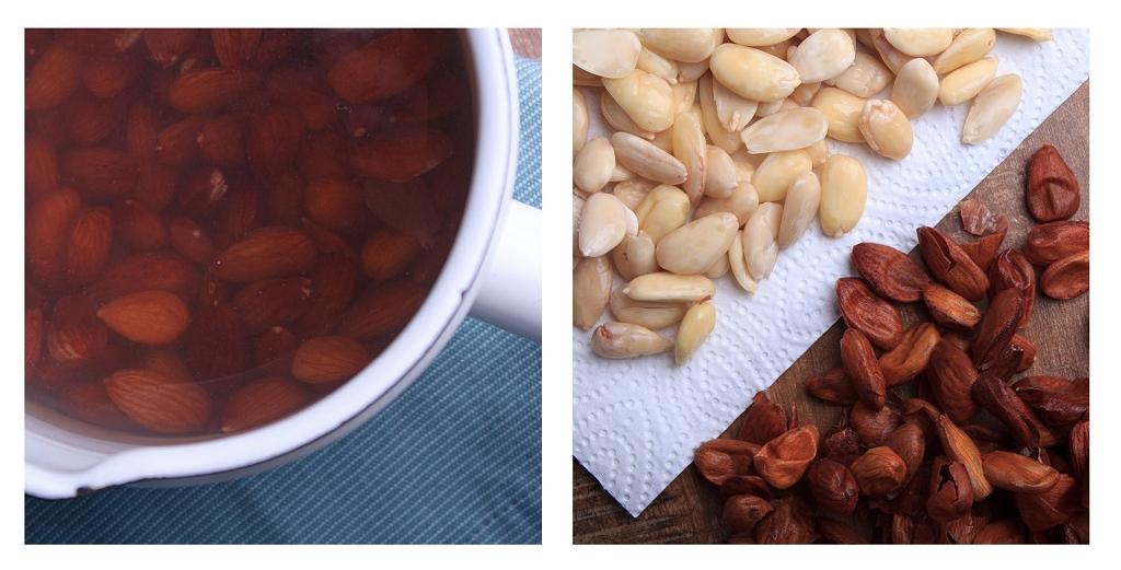 Für die Low Carb Marzipankugeln werden Mandeln blanchiert