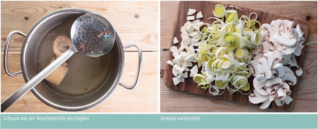 Von der Knochenbrühe wird Schaum abgeschöpft, das Gemüse wird geschnitten